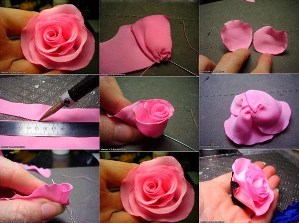 атласная роза из лент